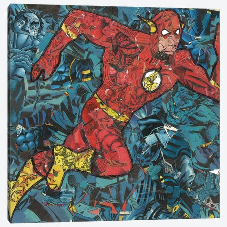 The Flash Comic Collage Canvas Print #PMY7} by p_ThaNerd Canvas Art