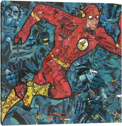 The Flash Comic Collage Canvas Art Print