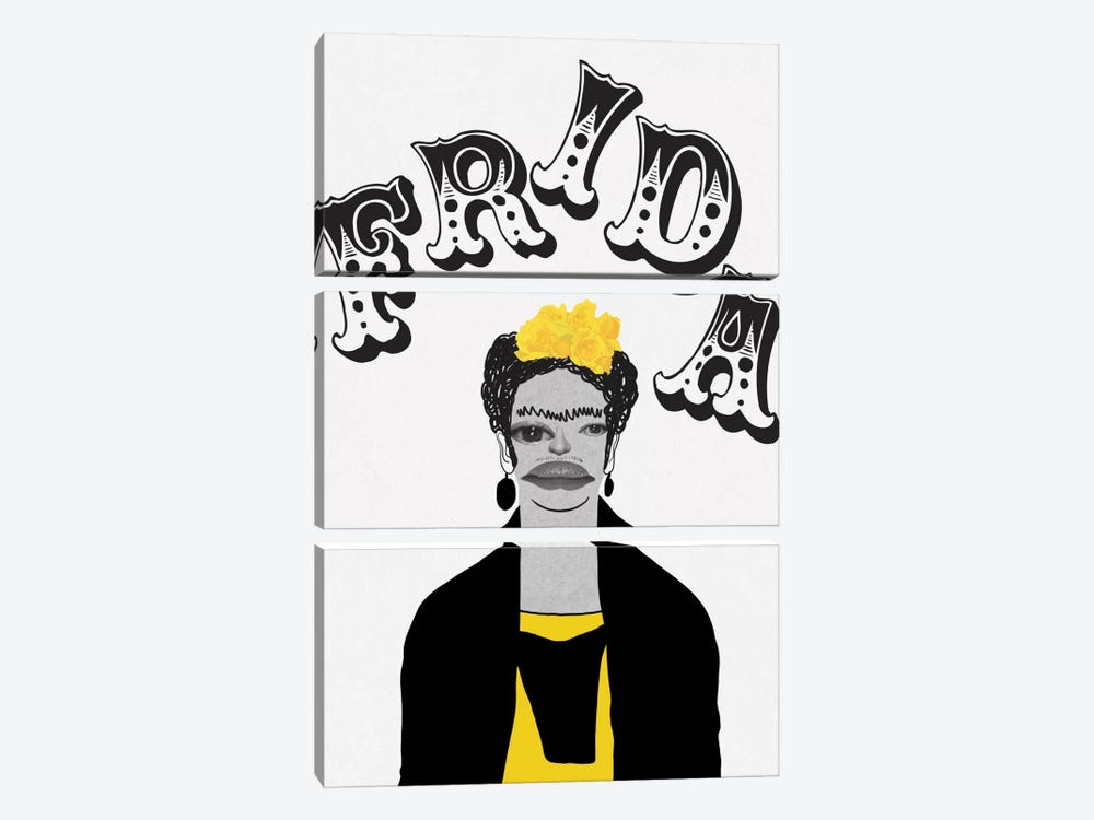 Frida In Yellow by 5by5collective 3-piece Art Print