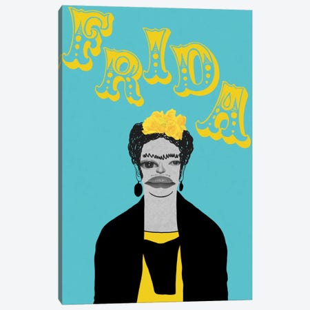 Frida With Flowers Canvas Print #PNA9} by 5by5collective Canvas Print