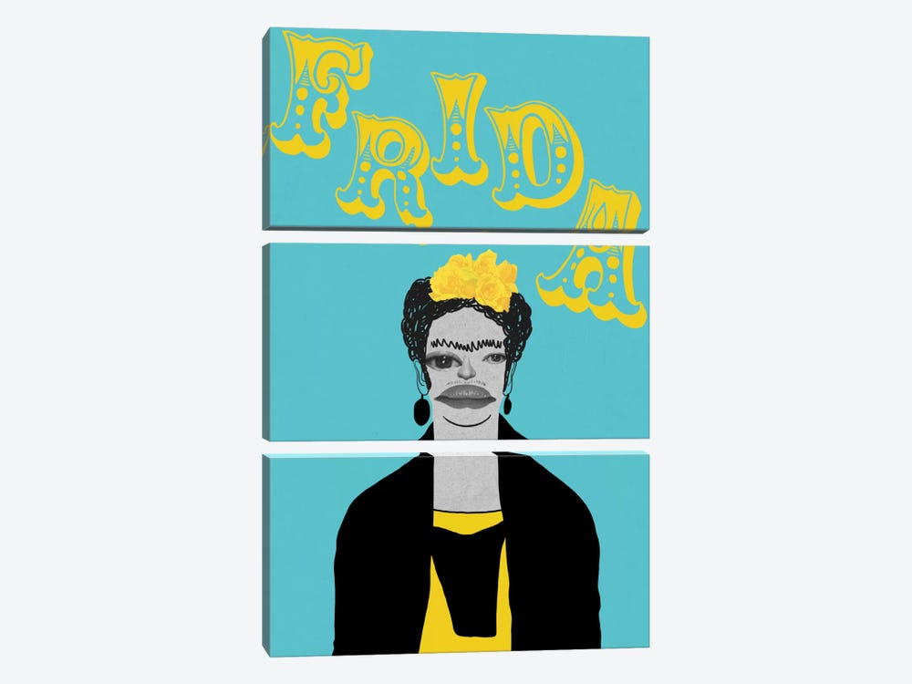 Frida With Flowers by 5by5collective 3-piece Canvas Wall Art