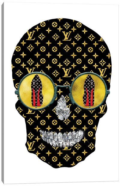 Louis Vuitton Black Gold Fashion Skull Canvas Art Print
