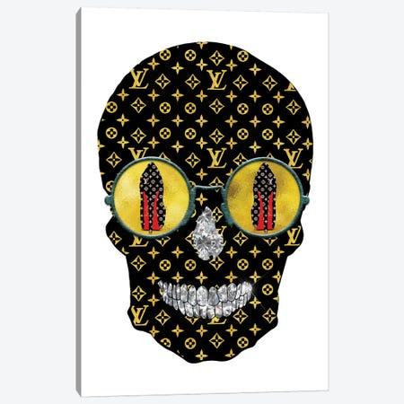 Louis Vuitton Black Gold Fashion Skull Canvas Print #POB109} by Pomaikai Barron Canvas Print