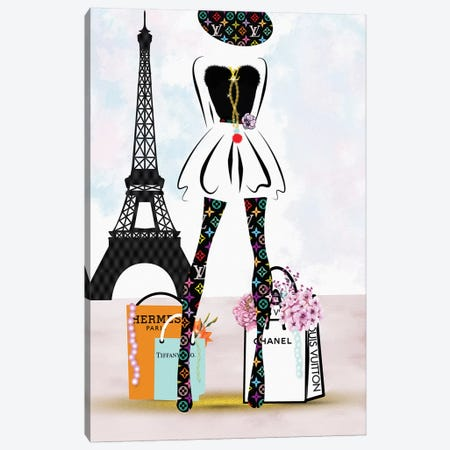 Paris Fashion Shopping Girl_Lv Canvas Print #POB143} by Pomaikai Barron Canvas Art Print