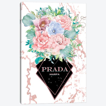 Prada Pastel Floral Vase 3-Piece Canvas #POB146} by Pomaikai Barron Canvas Wall Art