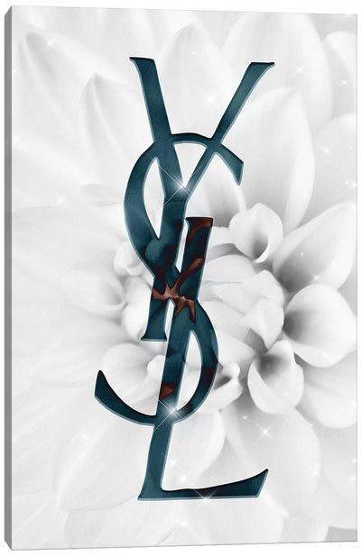 White Turquoise Dahlia Fashion I Canvas Art Print