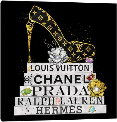 Bejeweled Fashion Book Stack And Lv High Heel Canvas Art Print