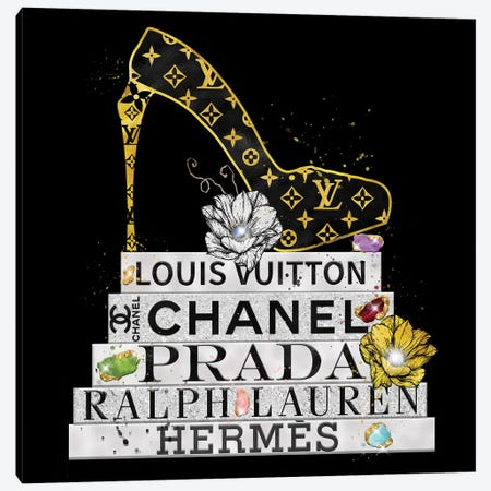 Bejeweled Fashion Book Stack And Lv High Heel Canvas Print #POB214} by Pomaikai Barron Canvas Artwork