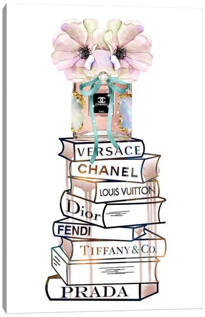 Peaches Fashion Perfume Bottle And Fashion Book Stack Canvas Art Print