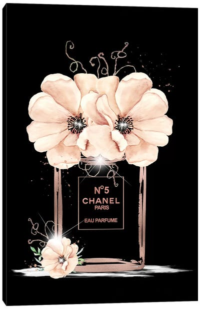 Rose Gold Fashion Perfume Bottle And Anemones Canvas Art Print