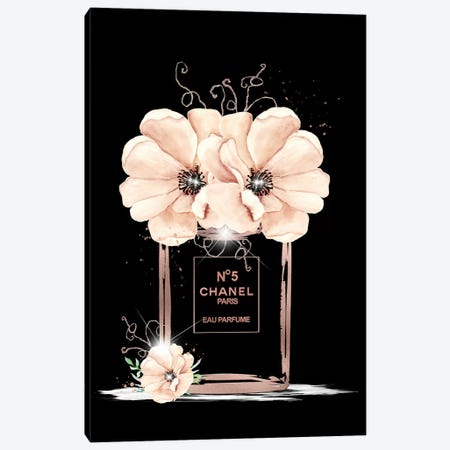 Rose Gold Fashion Perfume Bottle And Anemones Canvas Print #POB234} by Pomaikai Barron Canvas Artwork