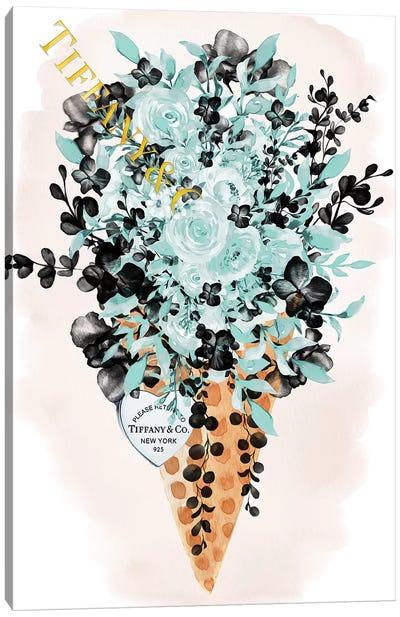 Teal Fashion Ice Cream Cone Bouquet Canvas Art Print