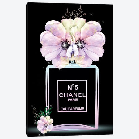 Pastel Fashion Perfume Bottle And Anemones Canvas Print #POB236} by Pomaikai Barron Canvas Wall Art