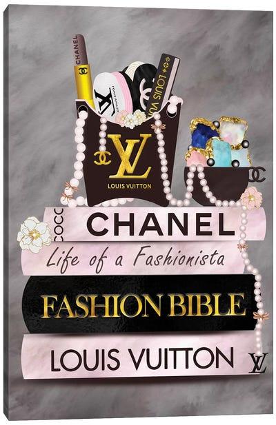 Life Of A Fashionista Fashion Book Stack Canvas Art Print