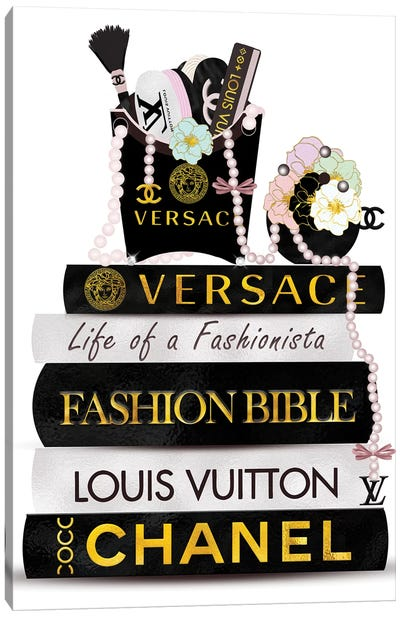 Fashion Fry Purse & Fashion Book Stack Canvas Art Print