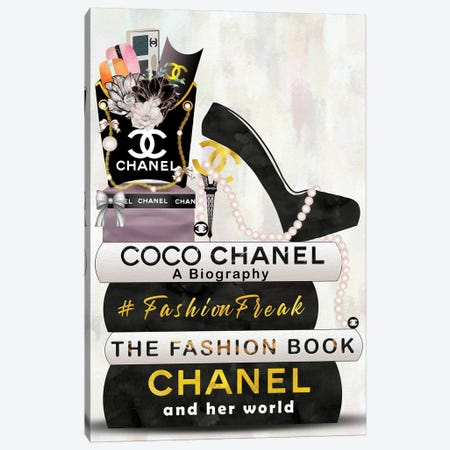 Hashtag Fashion Freak Book Stack, Fry Bag & High Heels Canvas Print #POB251} by Pomaikai Barron Art Print