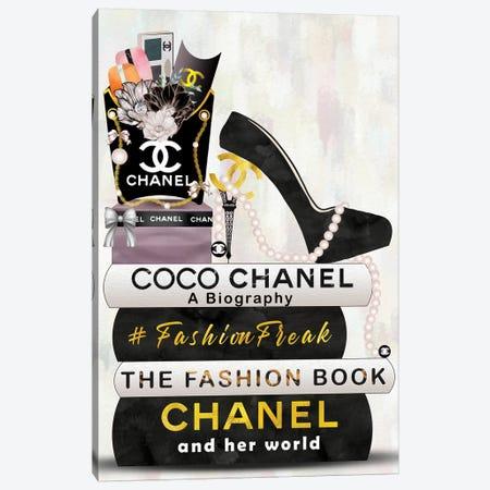 Hashtag Fashion Freak Book Stack, Fry Bag & High Heels Canvas Print #POB251} by Pomaikai Barron Art Print
