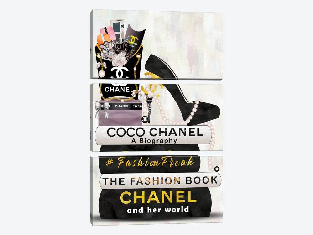 Hashtag Fashion Freak Book Stack, Fry Bag & High Heels by Pomaikai Barron 3-piece Canvas Print