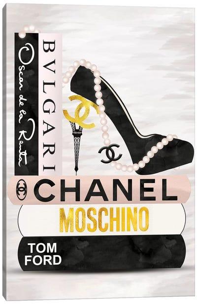 Blush, Black & Gold High Heel On Fashion Book Stack Canvas Art Print
