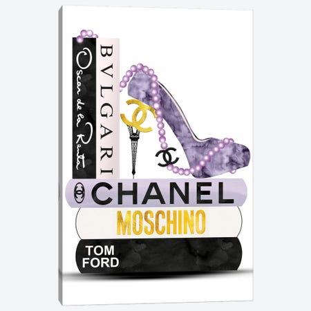 Purple, Black & Gold High Heel On Fashion Book Stack Canvas Print #POB254} by Pomaikai Barron Canvas Art