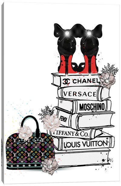 Bubu Heels On Fashion Book Stack And Lv Bag Canvas Art Print