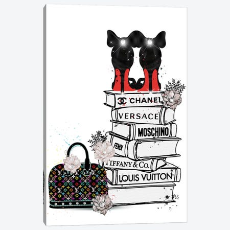 Bubu Heels On Fashion Book Stack And Lv Bag Canvas Print #POB25} by Pomaikai Barron Canvas Art
