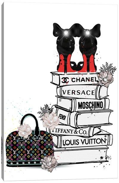 Bubu Heels On Fashion Book Stack And Lv Bag Canvas Art Print