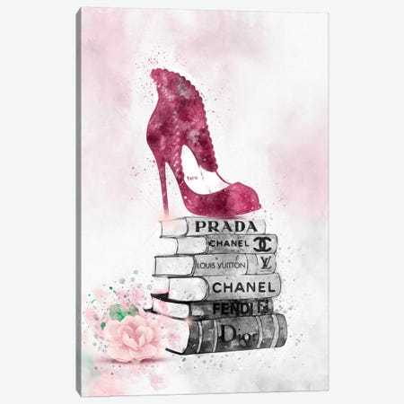 Bubu High Heel On Book Stack Canvas Print #POB26} by Pomaikai Barron Canvas Art