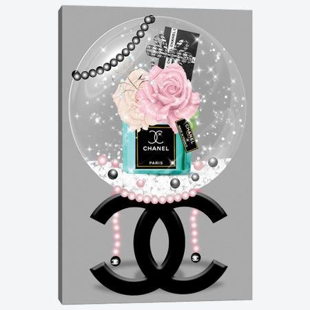 Blushed Roses & Turquoise Fashion Vase Glitter Ball Canvas Print #POB270} by Pomaikai Barron Canvas Art Print