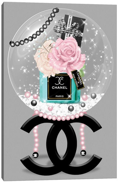 Blushed Roses & Turquoise Fashion Vase Glitter Ball Canvas Art Print