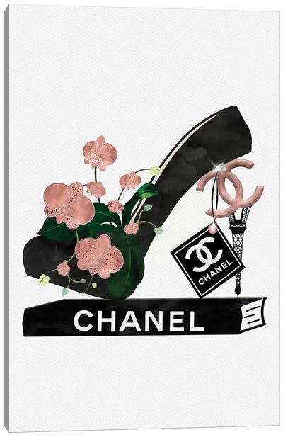 Rose Gold & Black High Heel On Fashion Book Canvas Art Print