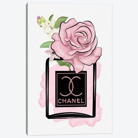 Blushed Rose In Wet Paint Fashion Perfume Bottle 3-Piece Canvas #POB278} by Pomaikai Barron Canvas Art Print