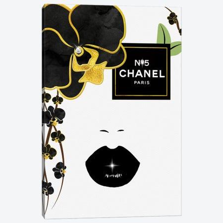 N05 Black & Gold Orchid Eye Fashion Face Canvas Print #POB280} by Pomaikai Barron Canvas Wall Art