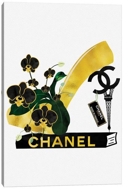 Black & Gold High Heel On Fashion Book Canvas Art Print