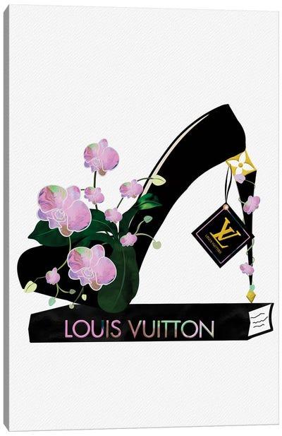 Pink Razzle High Heel On Fashion Book Canvas Art Print
