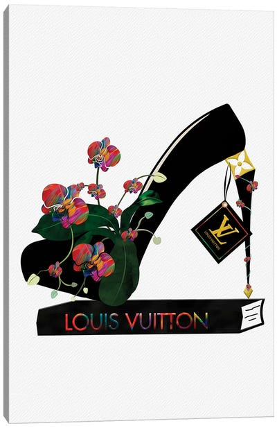 LV Krazy Kolorful Orchid Heel On Fashion Book Canvas Art Print