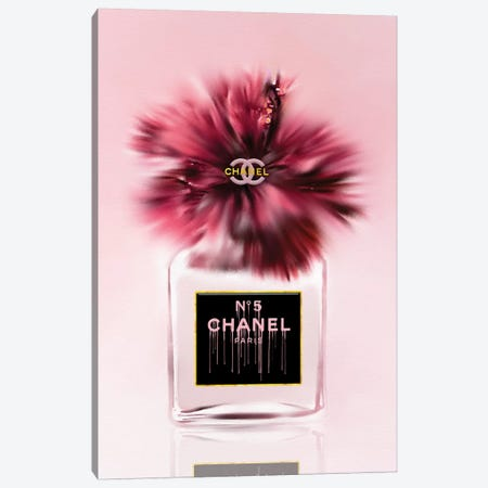 Deeply Blushed Fashion Perfume Bottle & Hibiscus Canvas Print #POB286} by Pomaikai Barron Canvas Print