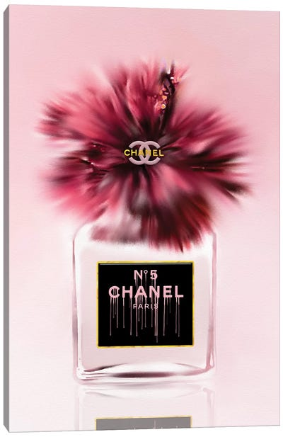 Deeply Blushed Fashion Perfume Bottle & Hibiscus Canvas Art Print