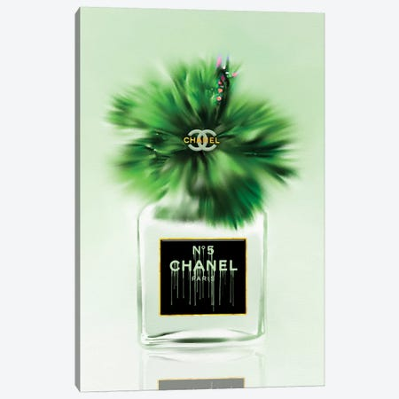 Green Dreams Fashion Perfume Bottle & Hibiscus Canvas Print #POB287} by Pomaikai Barron Art Print