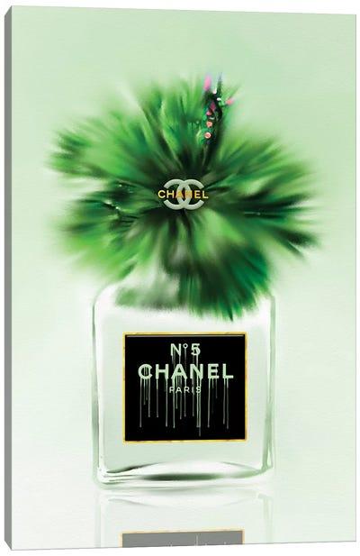 Green Dreams Fashion Perfume Bottle & Hibiscus Canvas Art Print