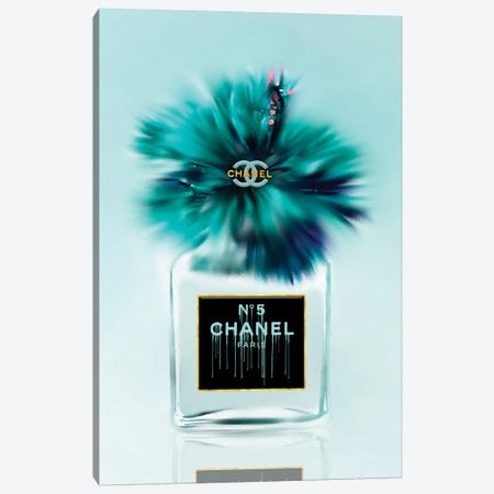 Tickle My Turquoise Fashion Perfume Bottle & Hibiscus Canvas Print #POB288} by Pomaikai Barron Canvas Art