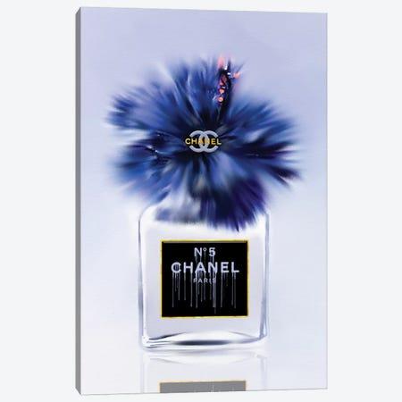 Little Bottle Blue Fashion Perfume Vase Canvas Print #POB289} by Pomaikai Barron Canvas Art