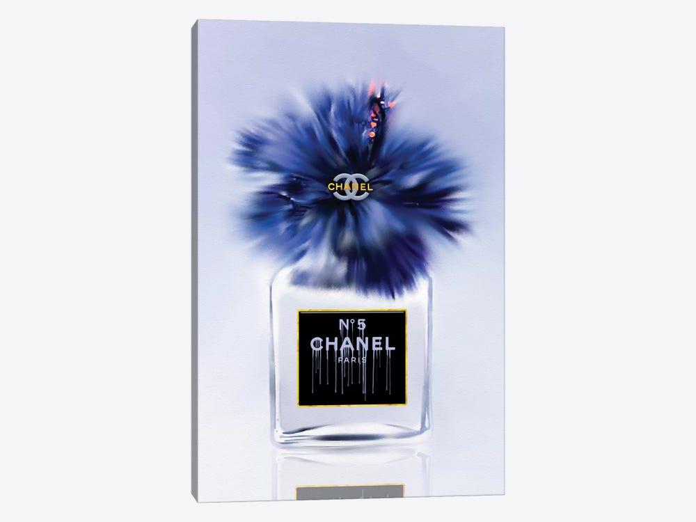 Little Bottle Blue Fashion Perfume Vase by Pomaikai Barron 1-piece Canvas Artwork