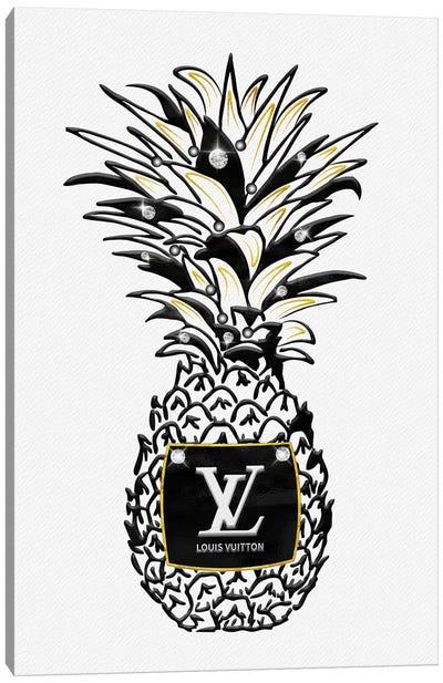 LV Black White Gold Fashion Pineapple With Diamonds & Pearls Canvas Art Print