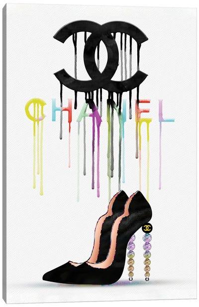 Walking On Rainbows CC Fashion Drips & High Heels Canvas Art Print