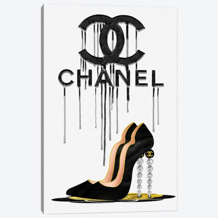 Fashion Drips CC Black High Heels, Diamonds & Pearls Canvas Print #POB312} by Pomaikai Barron Canvas Wall Art