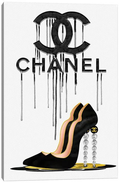 Fashion Drips CC Black High Heels, Diamonds & Pearls Canvas Art Print