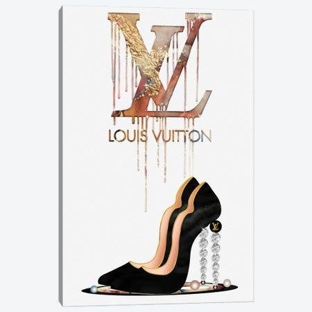 Fashion Drips_LV Bronzed High Heels, Diamonds & Pearls Canvas Print #POB315} by Pomaikai Barron Canvas Print