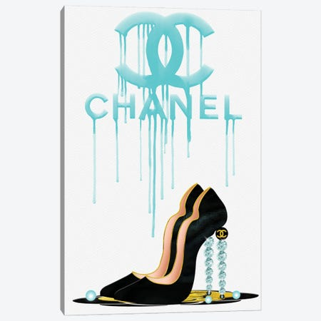 Fashion Drips_CC Teal High Heels, Diamonds & Pearls Canvas Print #POB316} by Pomaikai Barron Canvas Art Print