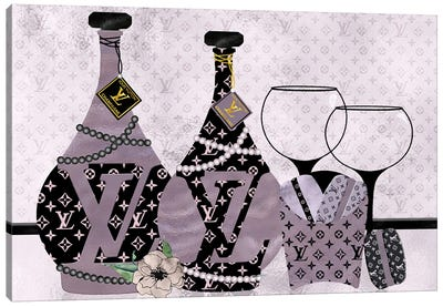 Champagne, Macarons & Louis Canvas Art Print